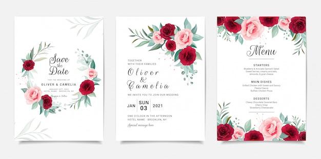 Modelo de cartão de convite de casamento elegante conjunto com decoração de flores
