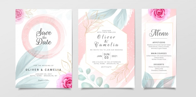 Modelo de cartão de convite de casamento elegante conjunto com decoração em aquarela e flores