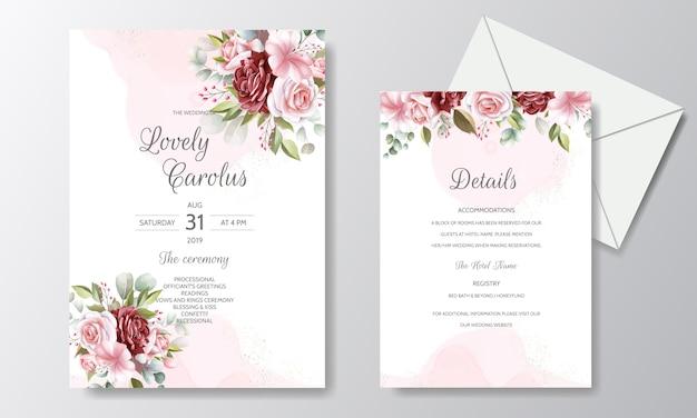 Modelo de cartão de convite de casamento elegante conjunto com decoração floral e glitter dourado