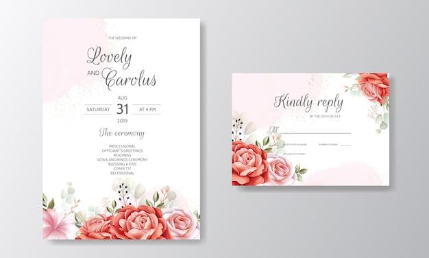 Modelo de cartão de convite de casamento elegante conjunto com decoração floral