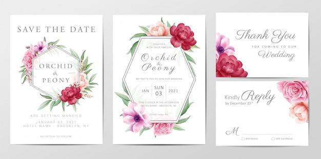 Modelo de cartão de convite de casamento elegante conjunto com flores rosas