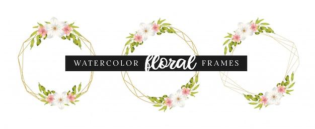 Modelo de cartão de convite de casamento elegante conjunto com quadros florais geométricos