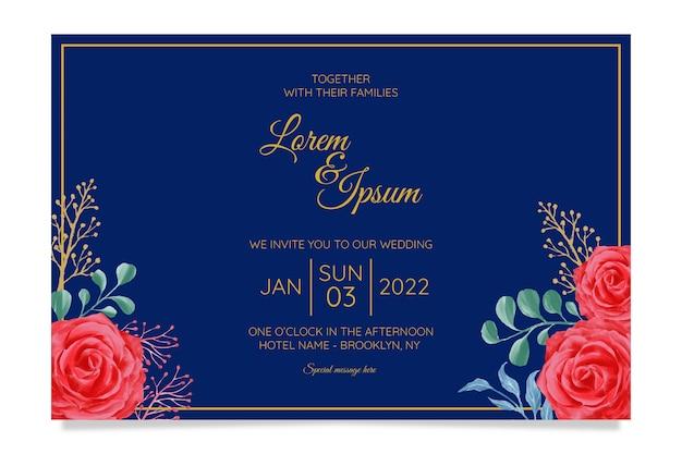 Modelo de cartão de convite de casamento elegante conjunto e decoração de flores em aquarela