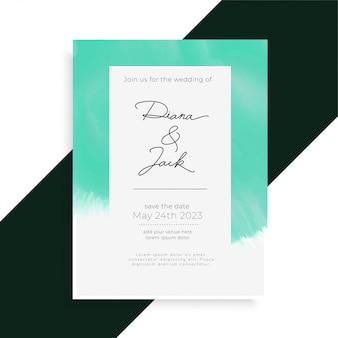 Modelo de cartão de convite de casamento elegante em aquarela