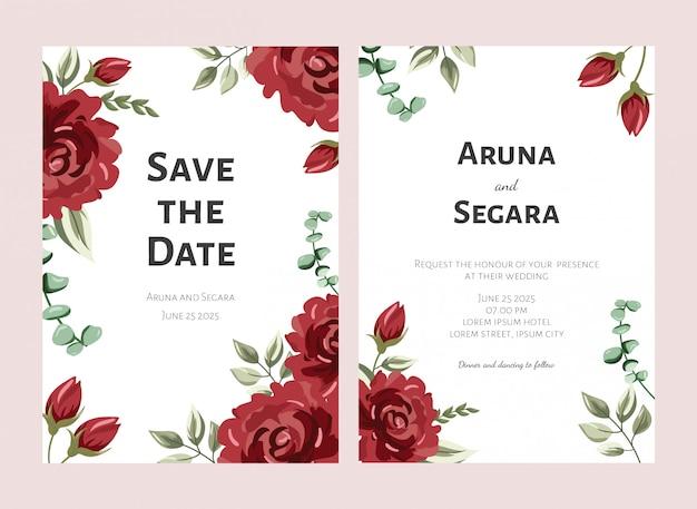 Modelo de cartão de convite de casamento elegante flor rosa