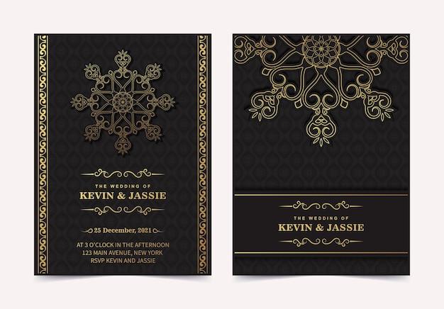 Modelo de cartão de convite de casamento elegante mandala
