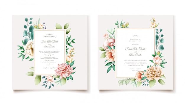 Modelo de cartão de convite de casamento elegante peônia