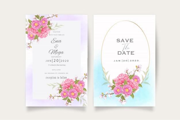 Modelo de cartão de convite de casamento elegante peônias