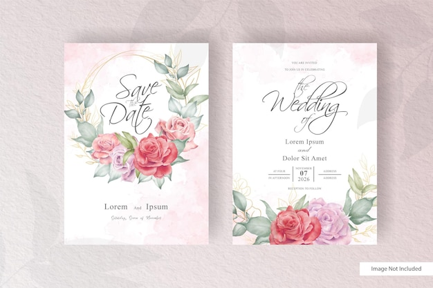 Modelo de cartão de convite de casamento em aquarela com arranjo de grinalda floral