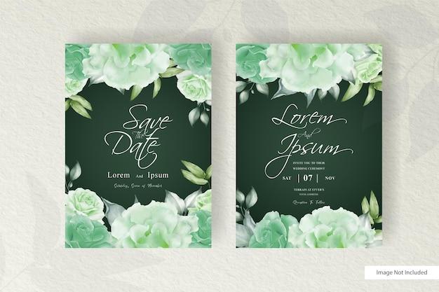 Modelo de cartão de convite de casamento em aquarela com arranjo floral e minimalista