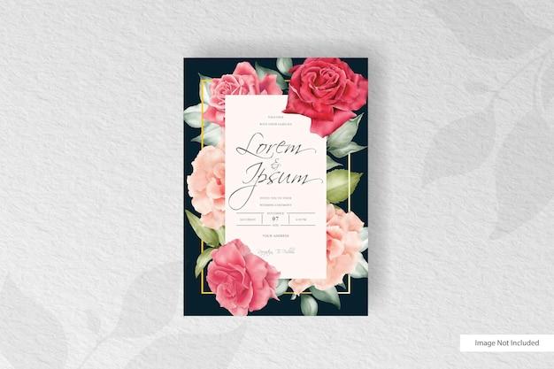 Modelo de cartão de convite de casamento em aquarela com arranjo floral