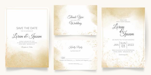 Modelo de cartão de convite de casamento em aquarela com decoração floral dourada