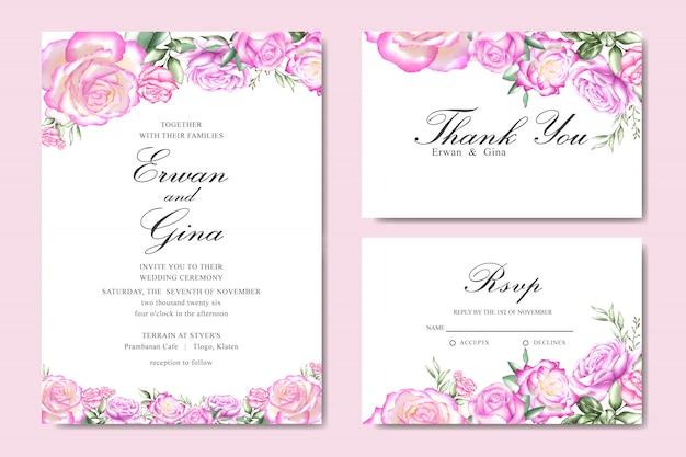 Modelo de cartão de convite de casamento em aquarela com floral e folhas
