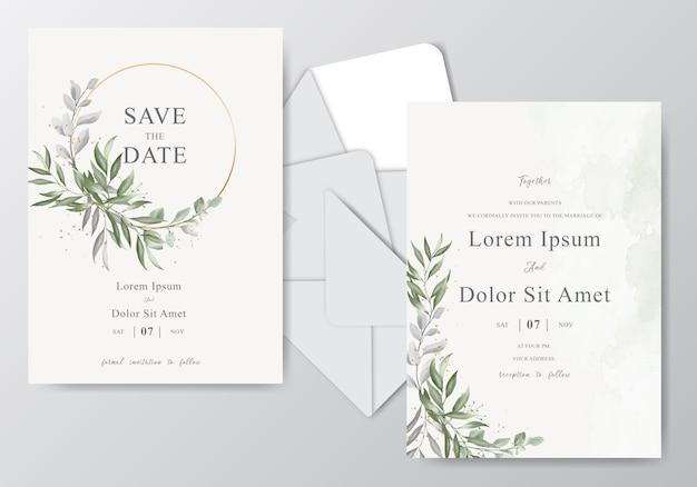 Modelo de cartão de convite de casamento em aquarela com folhagem bonita