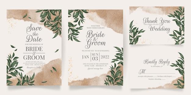 Modelo de cartão de convite de casamento em aquarela cremosa com decoração floral dourada