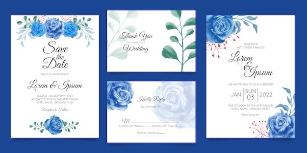 Modelo de cartão de convite de casamento em aquarela elegante conjunto com decoração floral