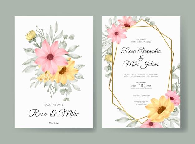 Modelo de cartão de convite de casamento em aquarela floral rosa linda