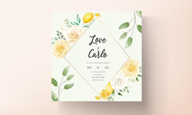 Modelo de cartão de convite de casamento em aquarela linda folhas florais de verão