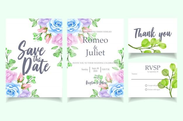 Modelo de cartão de convite de casamento em aquarela linda rsvp