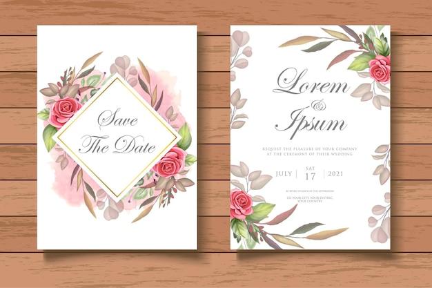Modelo de cartão de convite de casamento em aquarela