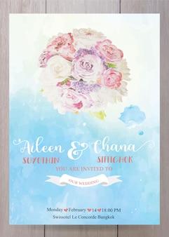 Modelo de cartão de convite de casamento, em estilo aquarela de tinta rosa