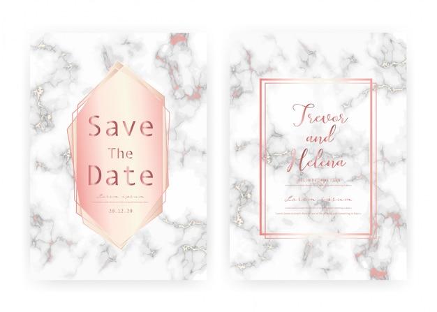 Modelo de cartão de convite de casamento em mármore, salve o cartão de casamento de data, design moderno de cartão com textura de mármore