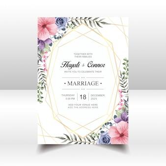 Modelo de cartão de convite de casamento flor vintage