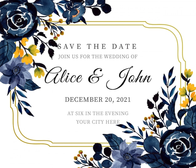 Modelo de cartão de convite de casamento floral aquarela azul índigo