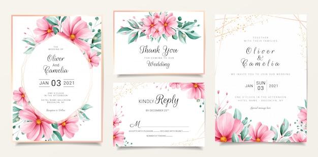 Modelo de cartão de convite de casamento floral aquarela conjunto com flores e linha de ouro
