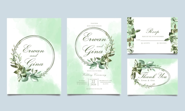 Modelo de cartão de convite de casamento floral aquarela