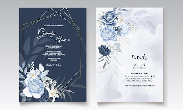 Modelo de cartão de convite de casamento floral azul marinho com aquarela