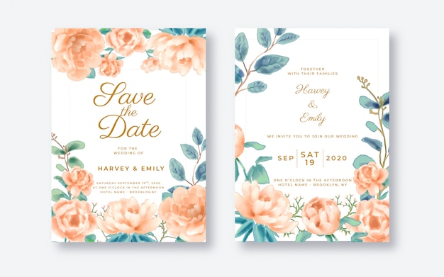Modelo de cartão de convite de casamento floral bonito