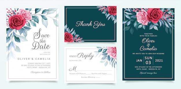 Modelo de cartão de convite de casamento floral com elegantes flores em aquarela e folhas