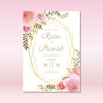 Modelo de cartão de convite de casamento floral com estilo aquarela