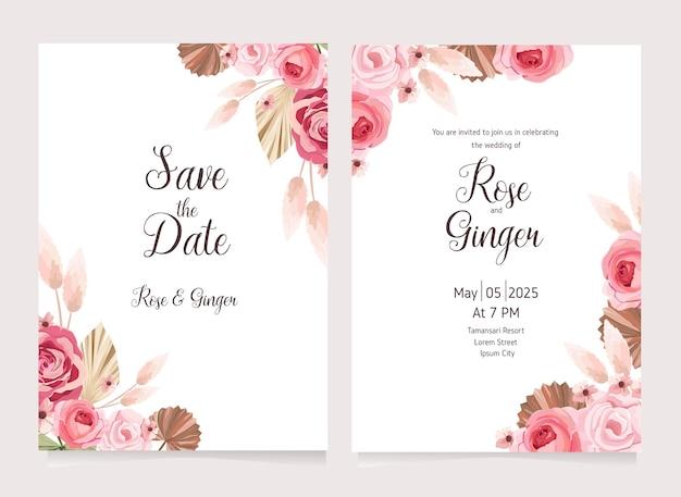 Modelo de cartão de convite de casamento floral com flor rosa