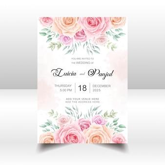 Modelo de cartão de convite de casamento floral com flores em aquarela
