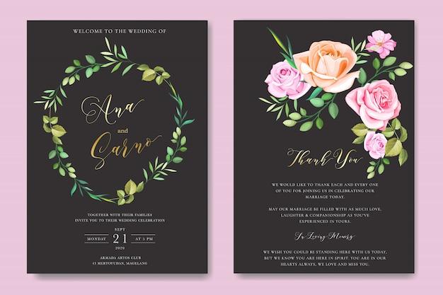 Modelo de cartão de convite de casamento floral com grinalda floral