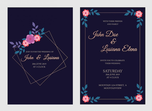 Modelo de cartão de convite de casamento, floral convidar, obrigado, cartão moderno de rsvp design com ramos de azul marinho