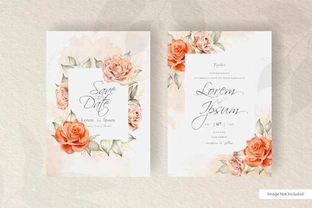 Modelo de cartão de convite de casamento floral desenhado à mão em aquarela com elemento de flores e folhas de arranjo minimalista