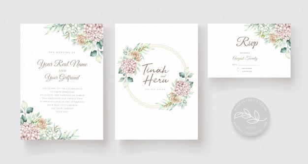 Modelo de cartão de convite de casamento floral desenhado à mão em aquarela