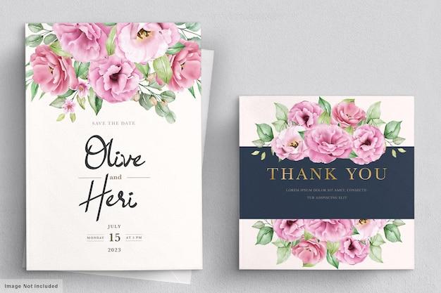 Modelo de cartão de convite de casamento floral desenhado em aquarela