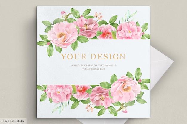 Modelo de cartão de convite de casamento floral elegante camélia