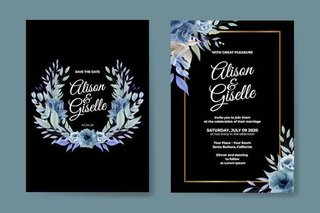 Modelo de cartão de convite de casamento floral elegante com rosa azul