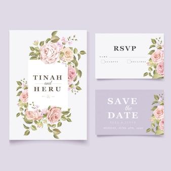 Modelo de cartão de convite de casamento floral elegante