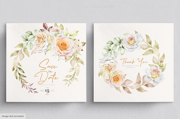 Modelo de cartão de convite de casamento floral em aquarela