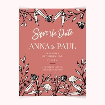 Modelo de cartão de convite de casamento floral linda mão desenhada