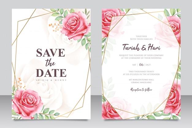 Modelo de cartão de convite de casamento floral lindo com moldura dourada