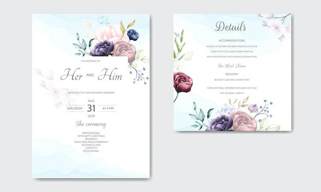 Modelo de cartão de convite de casamento floral lindo conjunto com borda de flores em aquarela