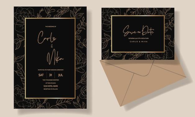 Modelo de cartão de convite de casamento floral lindo e elegante