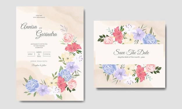 Modelo de cartão de convite de casamento floral lindo premium